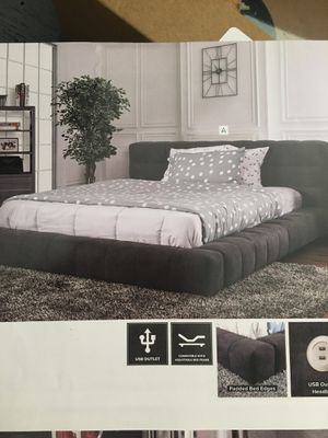 Queen gray padded bed frame with usb plug in for Sale in Modesto, CA