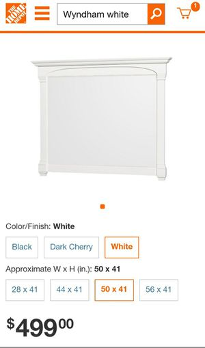 "(MIRROR)Wyndham collection Andover 50"" × 41"" white wood framed wall mirror for Sale in Murfreesboro, TN"