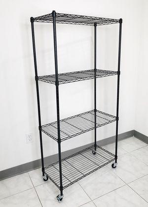 "New $50 Metal 4-Shelf Shelving Storage Unit Wire Organizer Rack Adjustable w/ Wheel Casters 30x14x61"" for Sale in Pico Rivera, CA"