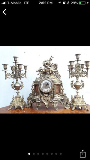 French heavy clock with 2 candelabras for Sale in Skokie, IL