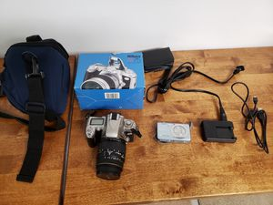 Nikon 35mm SLR with lenses and casio digital camera lot for Sale in Lemont, IL