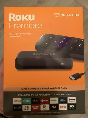 Roku Premiere - Streaming Media Player Simple Remote and Premium HDMI Cable, Black for Sale in Phoenix, AZ