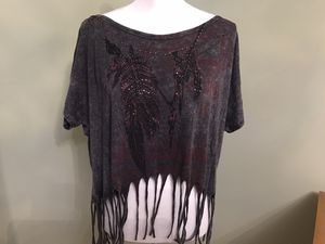 Women's Fringed Cotton/Polyester Blend Top, M for Sale in Farmington Hills, MI