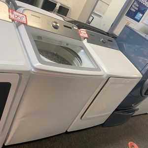 New Samsung top load washer& dryer set scratched and dented with 6 months warranty for Sale in Laurel, MD