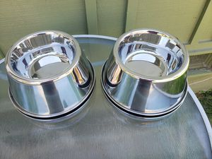 2 for $15 Huge Stainless Steel Dog Food Water Bowls for Sale in Everett, WA