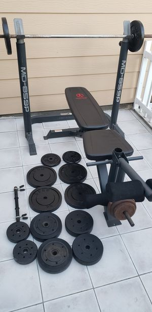 Bench press, bar and weights for Sale in Huntington Beach, CA