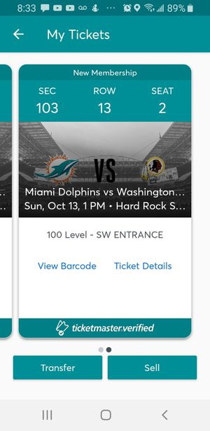 Dolphins vs Redskins Tickets for Sale in Miami Gardens, FL