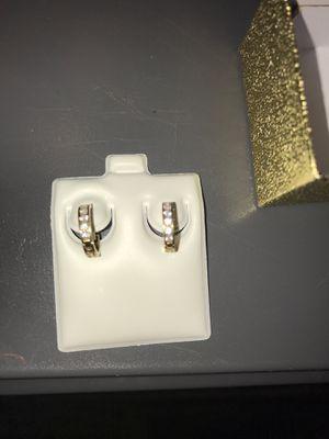 1 gram 10K Gold Earrings Hoops with CZ for Sale in Riverview, FL