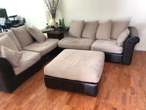 5 Pc Sectional Couch, Cloth & Leather for Sale in Montvale, NJ