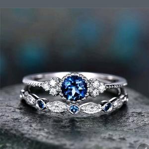 NWT Blue Sapphire Wedding Ring Set for Sale in Prairieville, LA