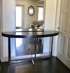 Copenhagen modern entry console table wood silver chrome for Sale in Phoenix, AZ