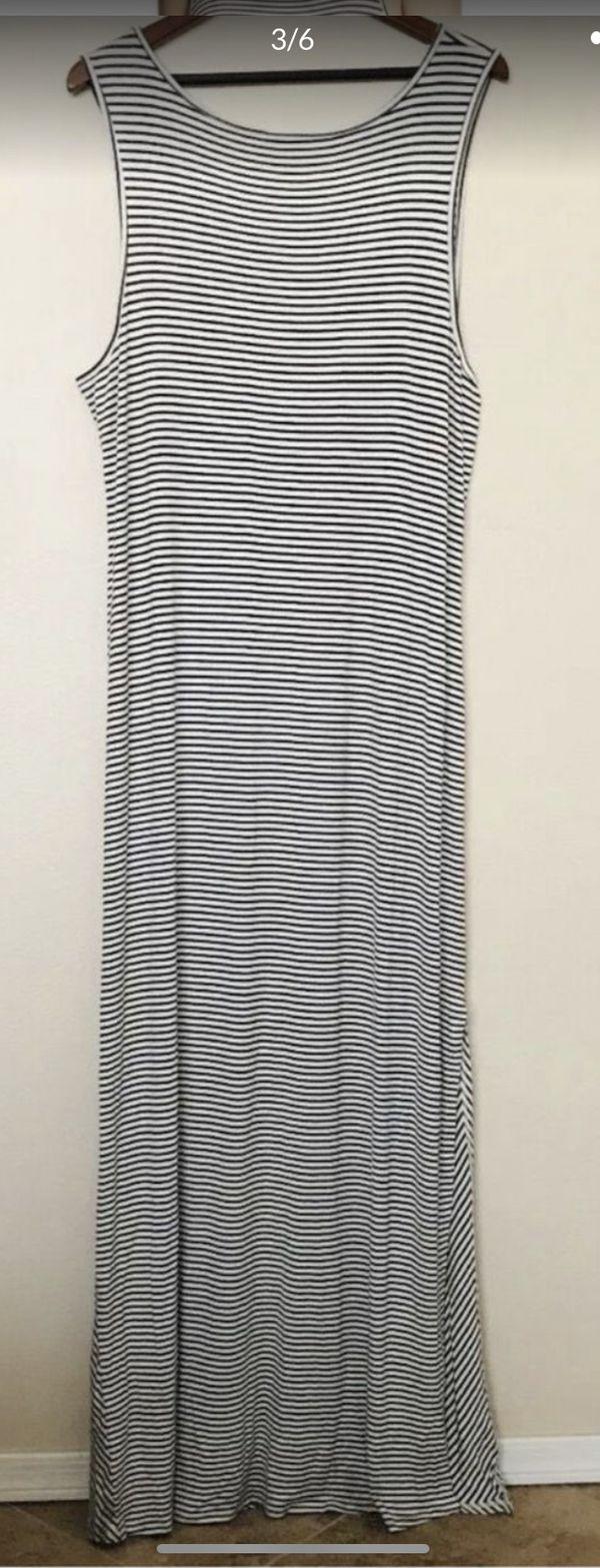 Bobeau Side Ruched Stripe Maxi Dress, Scoop Neck Sleeveless Sz 2XL