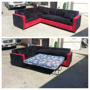 NEW 7X9FT BLACK MICROFIBER COMBO SECTIONAL WITH SLEEPER COUCHES for Sale in Las Vegas, NV