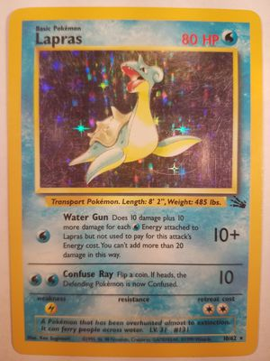 *SHIP ONLY* Played (PL) Lapras Holofoil #10/62 Fossil Pokemon Trading Card TCG WOTC Holographic Hologram Holo Foil Shiny Halo for Sale in Phoenix, AZ