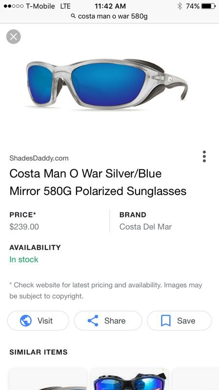 f0f3bed2d5665 100% Authentic Costa Del Mar Man O War 580G Mirror Lens for Sale in ...