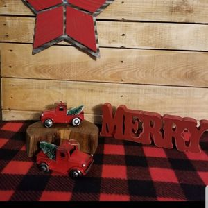 2 Red Holiday Trucks W/Trees for Sale in Delta, CO