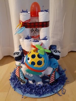 IT'S A BOY! Homemade Diaper Cake for mom-to-be for Sale in Coconut Creek, FL