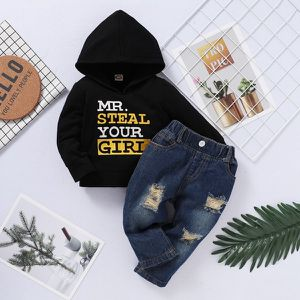 """MR. STEAL YOUR GIRL"" TWO PIECE BOYS HOODY SET WITH DISTRESSED DEMIN PANTS for Sale in McDonough, GA"