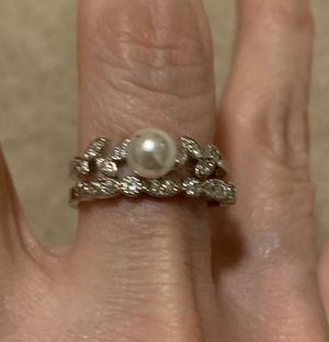 New 2 piece CZ pearl sterling silver wedding ring size 9 for Sale in Rolling Meadows, IL