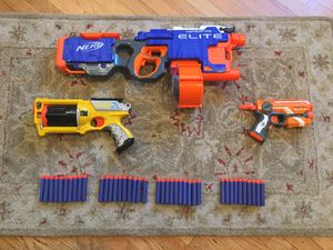 Nerf gun lot with Hyperfire, Firestrike, Maverick, and more. All for 40$ for Sale in Los Angeles, CA
