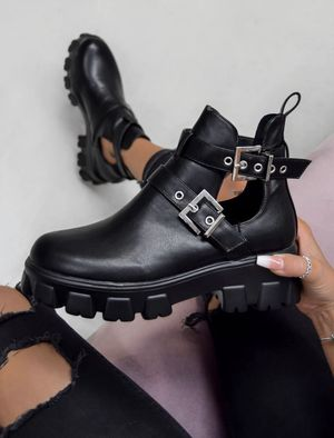 CHUNKY CUT OUT BUCKLE ANKLE BOOTS - BLACK for Sale in Tamarac, FL