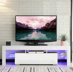 "New 63"" White TV Stand With LED light - Entertainment Center - TV Cabinet with Storage for Sale in Deerfield Beach, FL"
