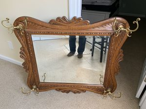 Rare antique solids oak hallway mirror with hooks for Sale in White Hall, MD