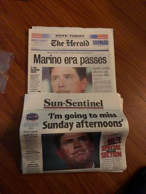 The Miami Herald Sun-Sentinel Dan Marino Dolphins retires for Sale in Plantation, FL