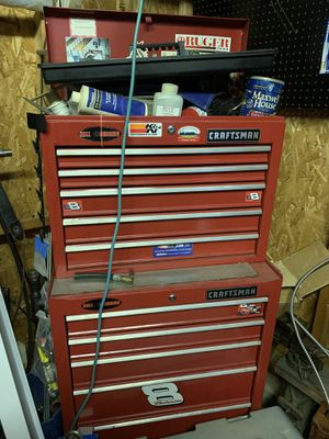 Craftsman BALL BEARING 9 drawer Top and Bottom tool box for Sale in Galloway, OH