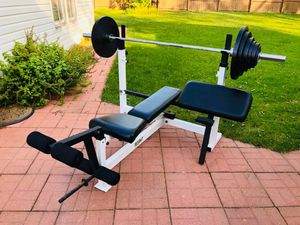 Olympic Bench - Olympic Bar - Weights - Bench Press - Work Out - Exercise - Gym Equipment for Sale in Downers Grove, IL
