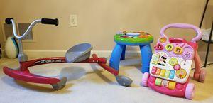 Kids toys, walker, activity center and ziggle bike for Sale in Millersville, MD