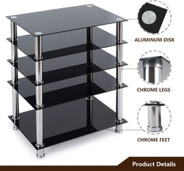 5-Tier Media Compontent TV Stand Audio Video Tower with Black Tempered Glass Shevles for Xbox, Gaming Consoles, Cable Boxes, HiFi Stereo Equipment for Sale in Ontario,  CA