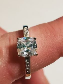 Sterling Silver Solitaire Ring With cz Stones Size 9 for Sale in Wenatchee,  WA