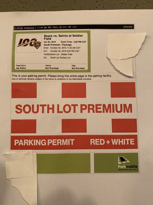 Bears vs. Saints parking pass (south lot) 10/20 for Sale in Rolling Meadows, IL