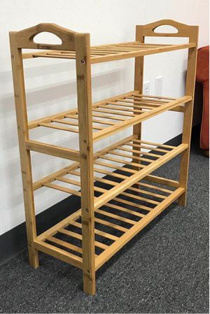 NEW $20 each 27x11x30 inches tall 4 tier bamboo shoe storage rack organizer stand for Sale in Whittier, CA