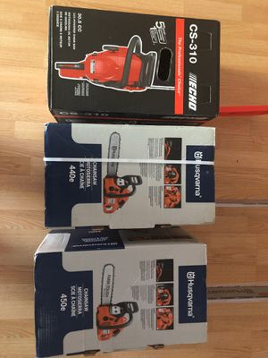 3 Brand New chainsaws ( 20' Husqvarna & 18 inch... 14' echo) for Sale in Hollywood, FL