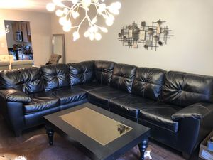 Perfect condition black leather 2 piece couch/sofa for Sale in Springfield, VA