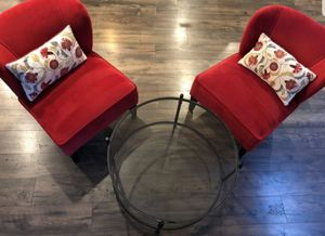 Living room set 2 red chairs / nice glass coffee table / cushions for Sale in Olympia, WA