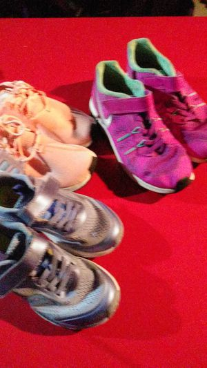 Nice girl shoes purple shoes 13 size 13 Peach Adidas size 13 pink Nikes size 3 for Sale in Columbus, OH