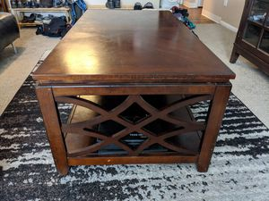 Dark wood coffee table, side tables and entertainment system for Sale in Phoenix, AZ