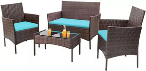 4 Pieces Outdoor Patio Furniture Sets Rattan Chair Wicker Set for Sale in Los Angeles, CA