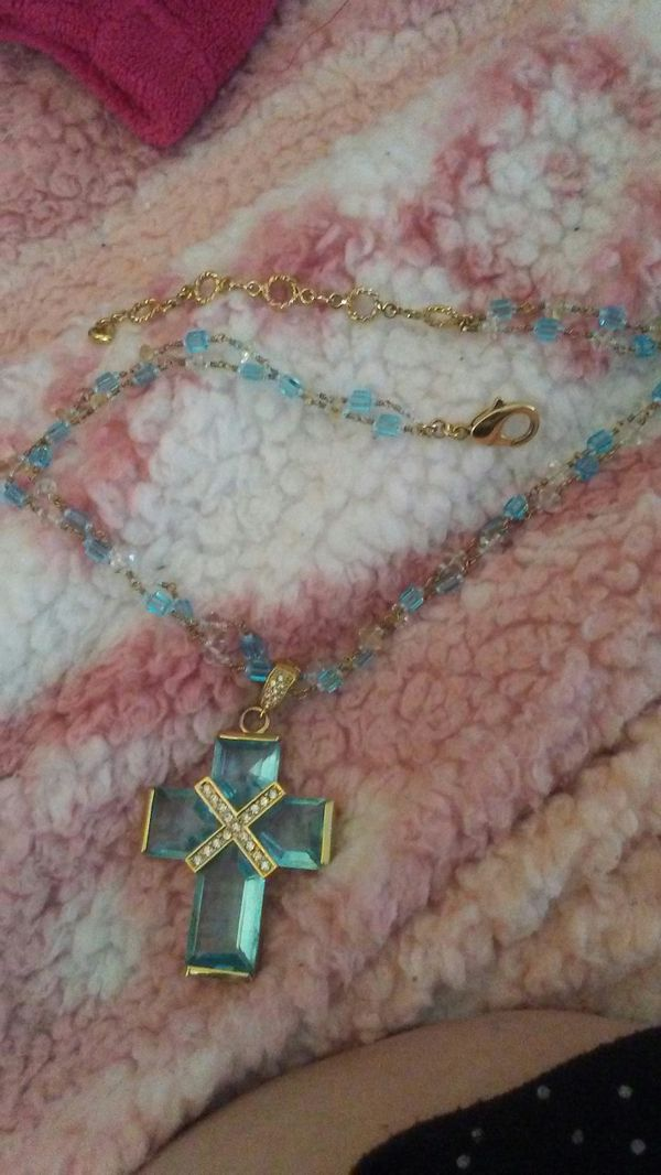 Blue Crystal Cross With CZ's Necklace
