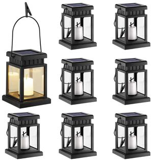 GIGALUMI 8 Pack Solar Hanging Lantern Outdoor, Candle Effect Light with Stake for Garden,Patio , Lawn, Deck , Umbrella, Tent, Tree,Yard,Driveway-Warm for Sale in Garden Grove, CA