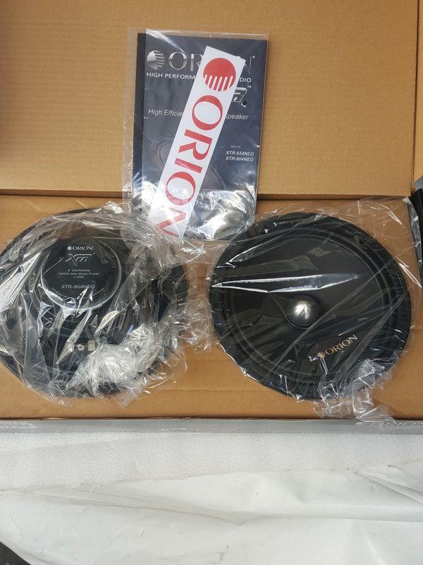 "Orion XTR-804NEO 8"" 350W RMS NEO Magnet Shallow Pro Audio Midrange Speakers 4 Ohm 1400W Max (Pair)"