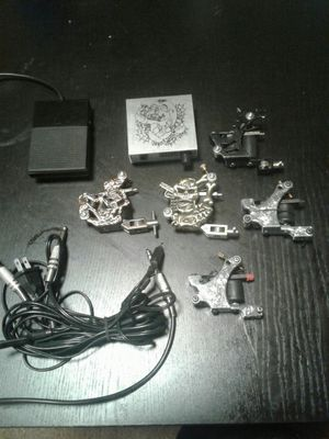 5 Tattoo machines (liners) , 1 power supply , 1 foot pedal and 2 clip cords for Sale in Saint Charles, MD