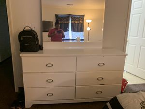 2 white dresses with the mirror and a black full size bed frame. for Sale in Frederick, MD