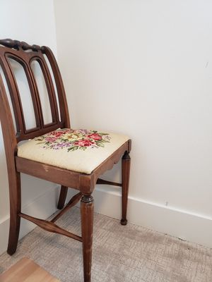 Petite wood and embroidery Vintage chair for Sale in Portland, OR