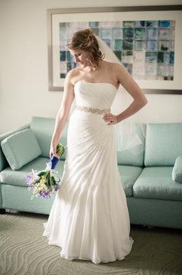 Chiffon A-line Asymmetrical Size 24 David's Bridal Wedding Dress for Sale in Pittsburgh, PA