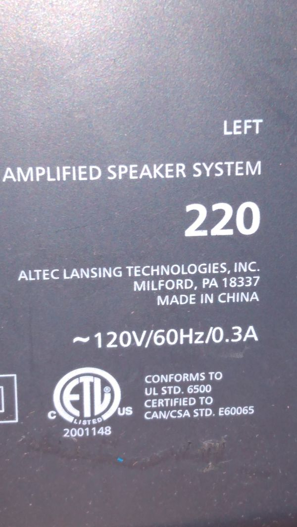 computer speakers altec Lansing
