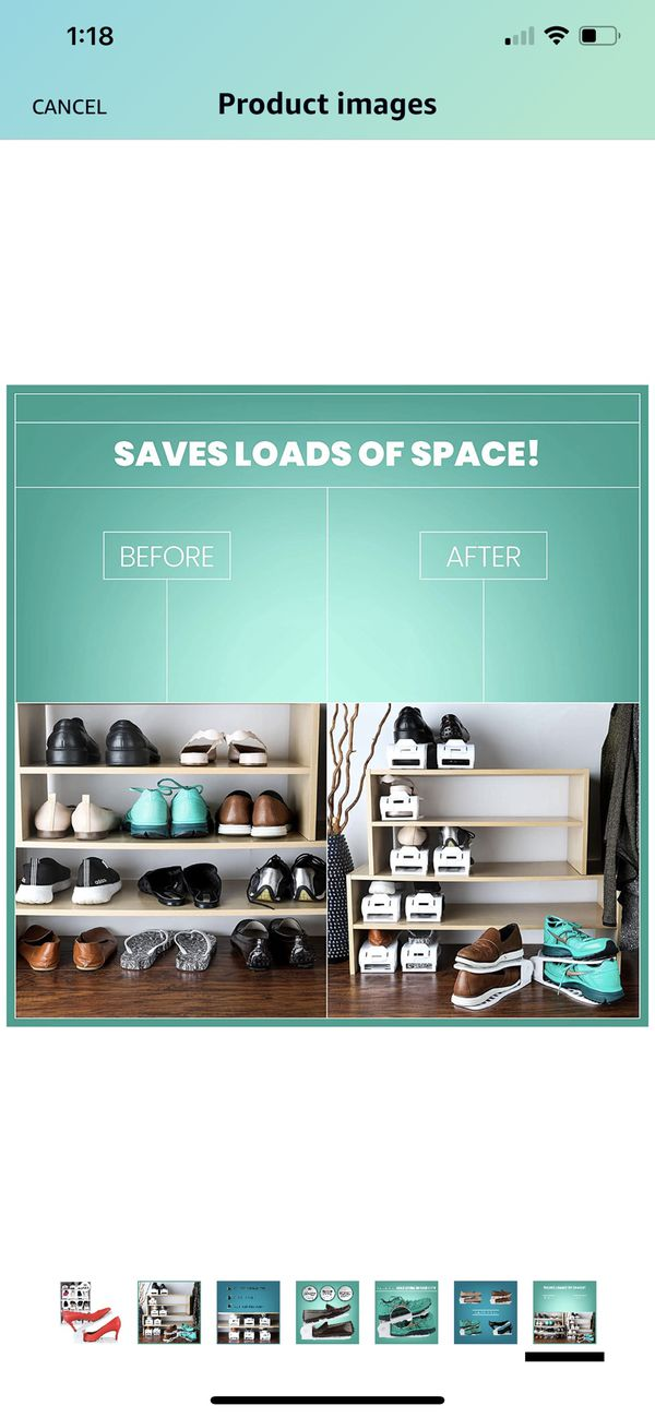 Shoe Organizer Space Saving Adjustable Shoe Slots Rack for Closet – Easy Shoe Stacker for Sneakers, Low Heels, High Heels, Sandals, Kids Shoes.